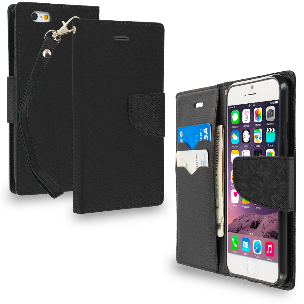 Apple iPhone 6 6S (4.7) Black / Black Leather Flip Wallet Pouch TPU Case Cover with ID Card Slots