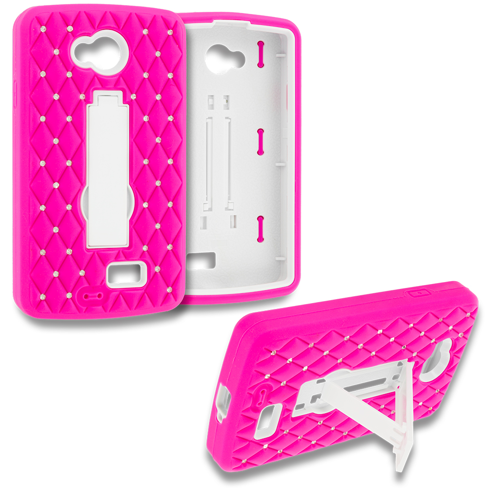 LG Transpyre Tribute F60 Hot Pink / White Hybrid Diamond Bling Hard Soft Case Cover with Kickstand