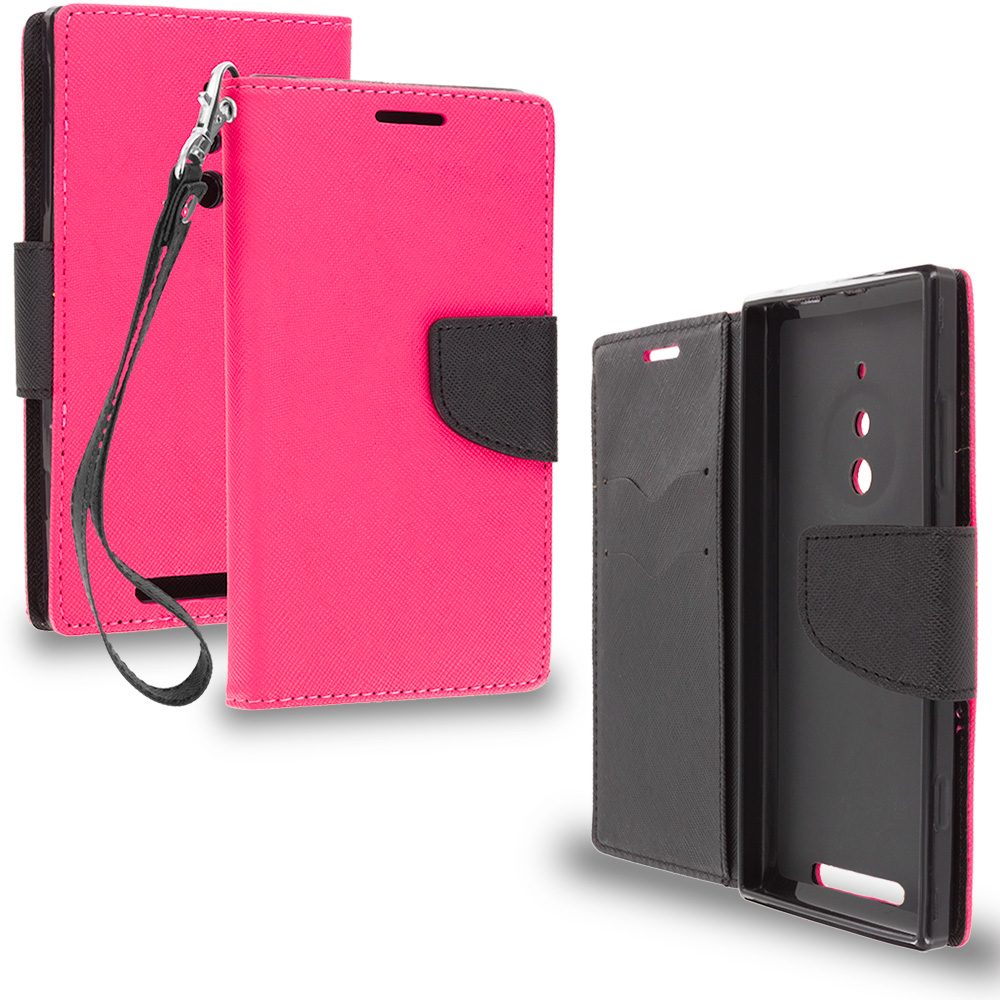 Nokia Lumia 830 Hot Pink / Black Leather Flip Wallet Pouch TPU Case Cover with ID Card Slots