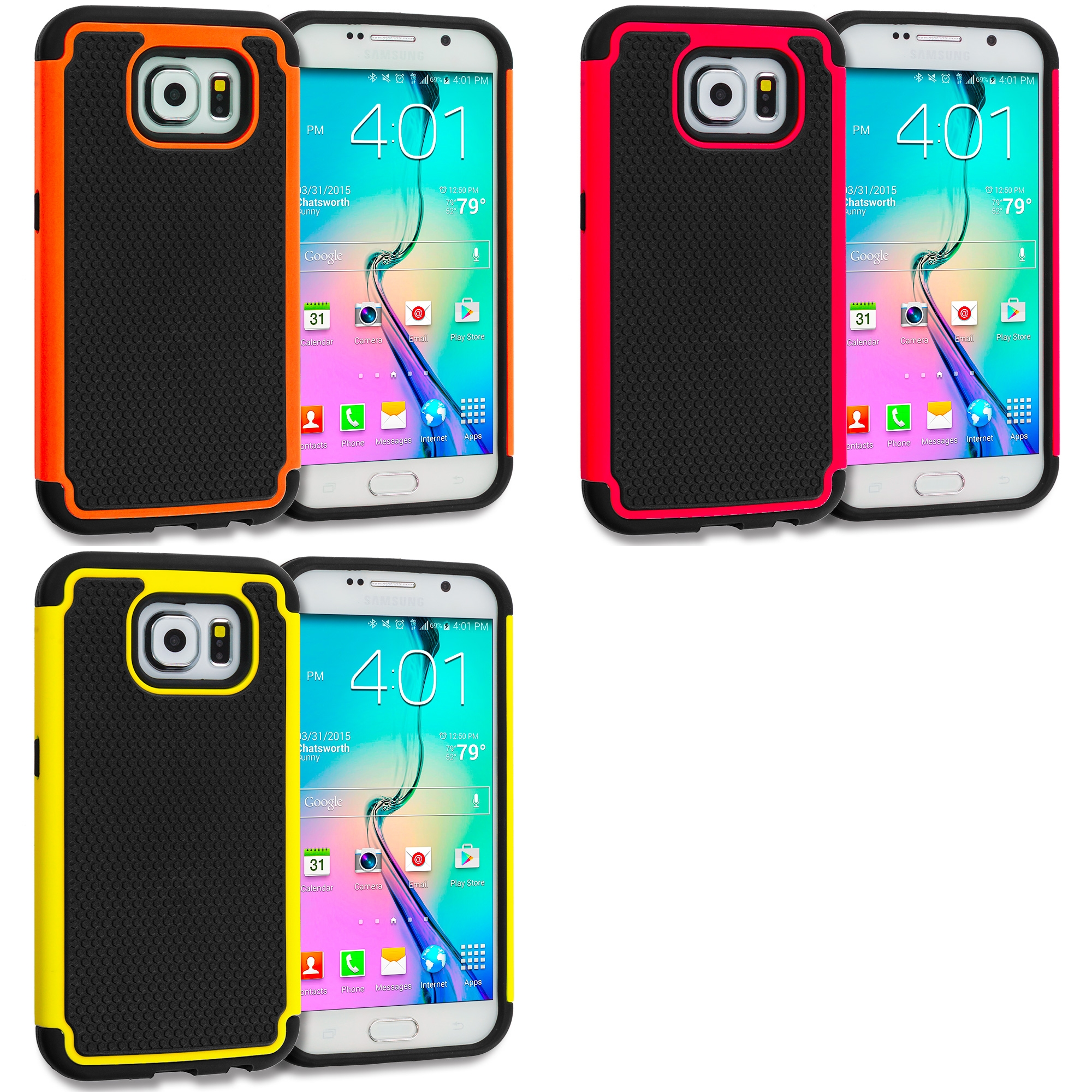 Samsung Galaxy S6 Combo Pack : Black / Red Hybrid Rugged Grip Shockproof Case Cover
