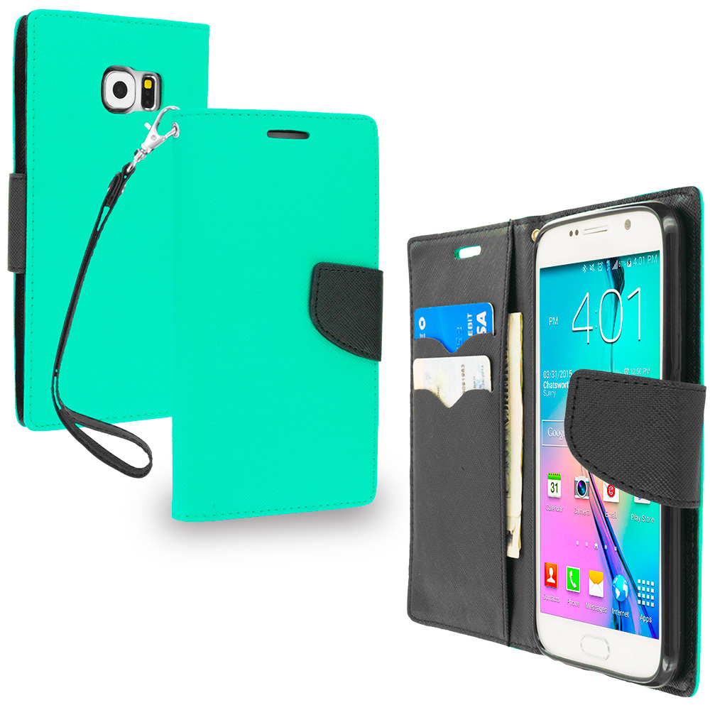 Samsung Galaxy S6 Combo Pack : Black / Black Leather Flip Wallet Pouch TPU Case Cover with ID Card Slots : Color Mint Green / Black