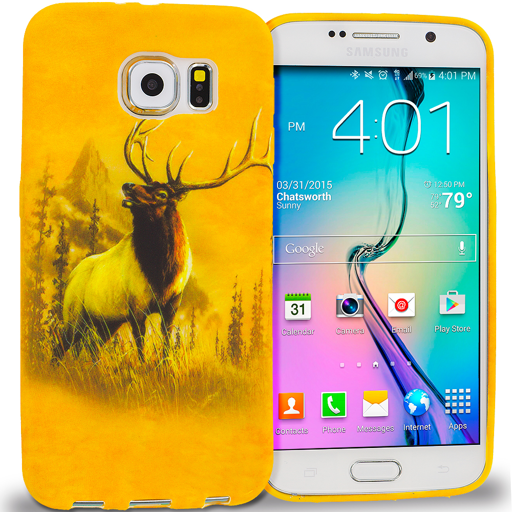 Samsung Galaxy S6 Combo Pack : Tiger TPU Design Soft Rubber Case Cover : Color Deer