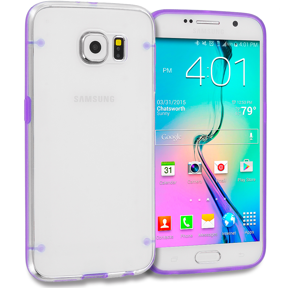 Samsung Galaxy S6 Combo Pack : Hot Pink Crystal Robot Hard TPU Case Cover : Color Purple