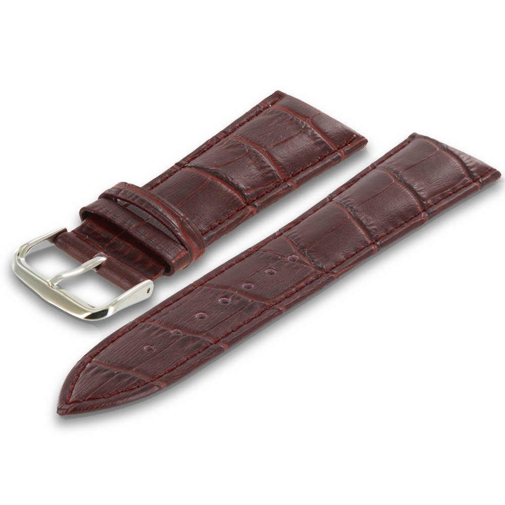 Apple Watch 42mm Brown Crocodile Leather Premium Buckle Watch Band Strap