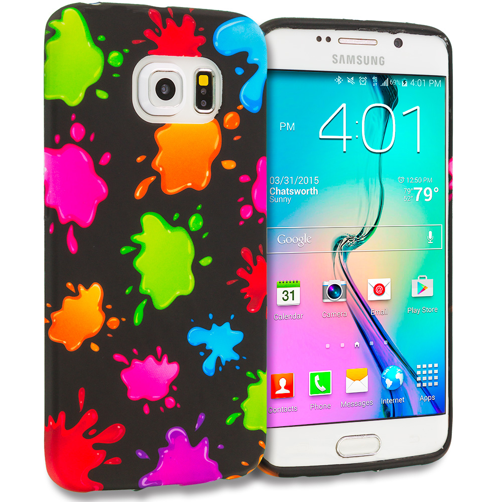 Samsung Galaxy S6 Edge Colorful Splash TPU Design Soft Rubber Case Cover