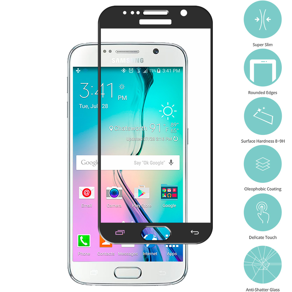 Samsung Galaxy S6 Black Tempered Glass Film Screen Protector Colored