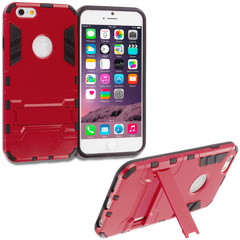Apple iPhone 6 Plus 6S Plus (5.5) Red Hybrid Transformer Armor Slim Shockproof Case Cover Kickstand
