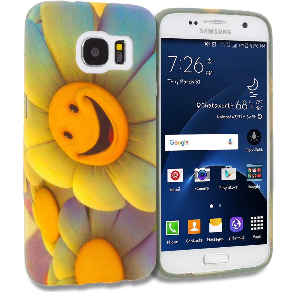 Samsung Galaxy S7 Combo Pack : Smiley Face TPU Design Soft Rubber Case Cover : Color Sunflower