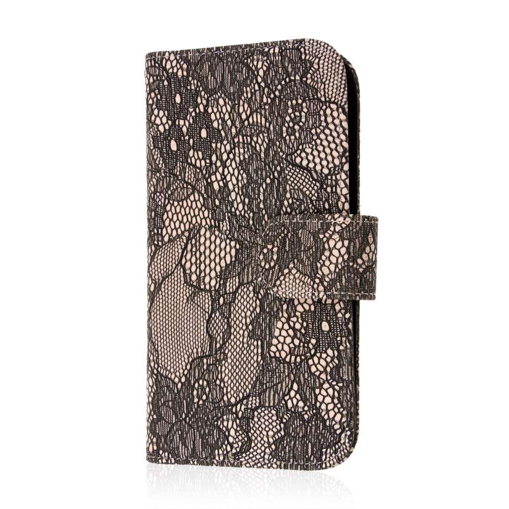 Samsung Galaxy S6 - Black Lace MPERO FLEX FLIP Wallet Case Cover
