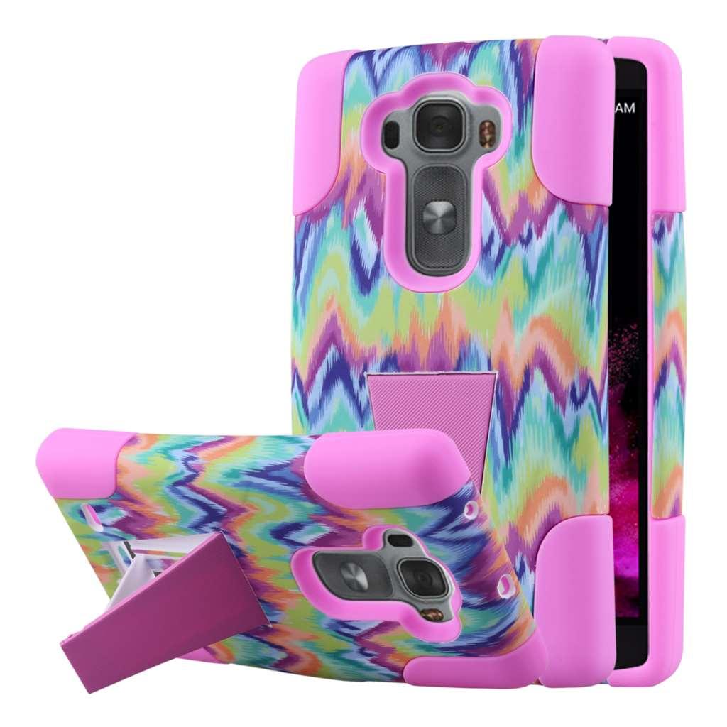 LG G Flex 2 - Pink Tie Dye Chevron MPERO IMPACT X - Kickstand Case Cover