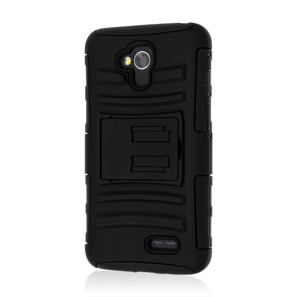 LG Optimus L70 - Black MPERO IMPACT XT - Kickstand Case Cover