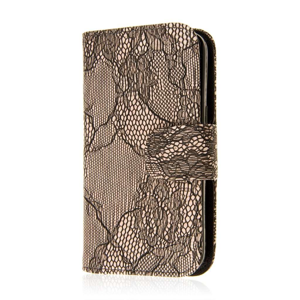 Samsung Galaxy Avant - Black Lace MPERO FLEX FLIP Wallet Case Cover