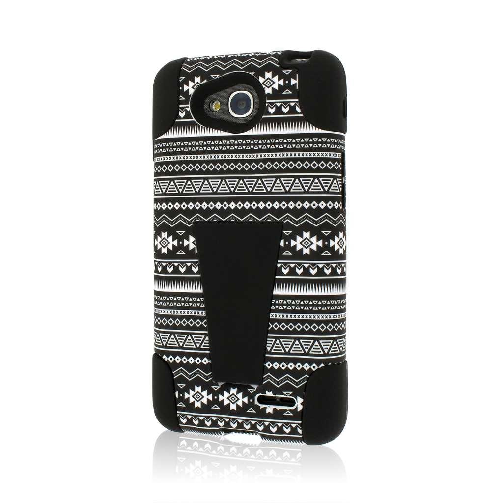 LG Optimus L90 - Black Aztec MPERO IMPACT X - Kickstand Case Cover