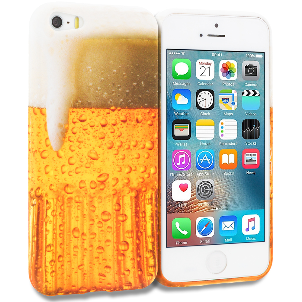 Apple iPhone 5/5S/SE Combo Pack : Ace Cards TPU Design Soft Rubber Case Cover : Color Beer