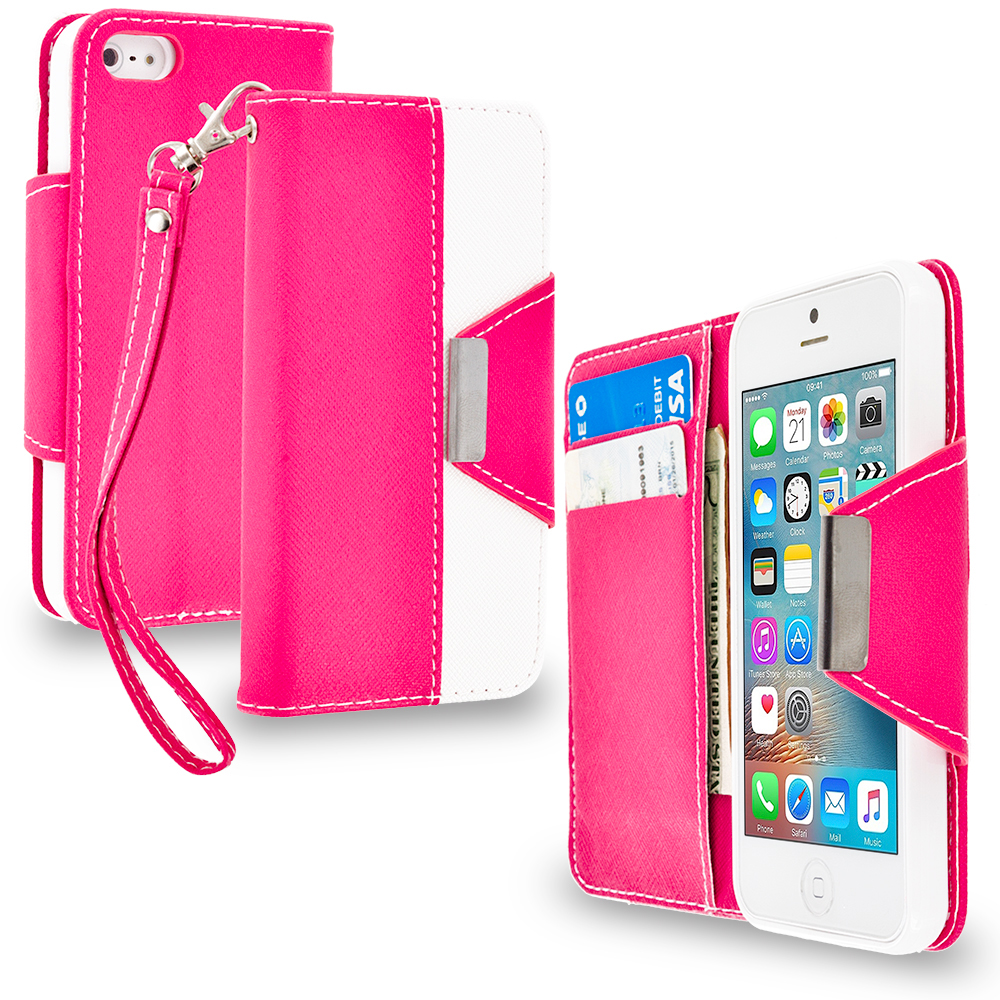 Apple iPhone 5/5S/SE Combo Pack : Baby Blue Wallet Magnetic Metal Flap Case Cover With Card Slots : Color Hot Pink