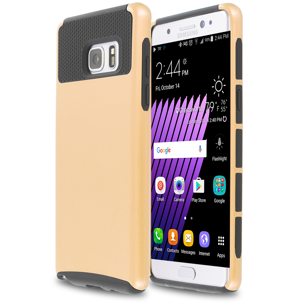 Samsung Galaxy Note 7 Gold / Black Hybrid Hard TPU Honeycomb Rugged Case Cover