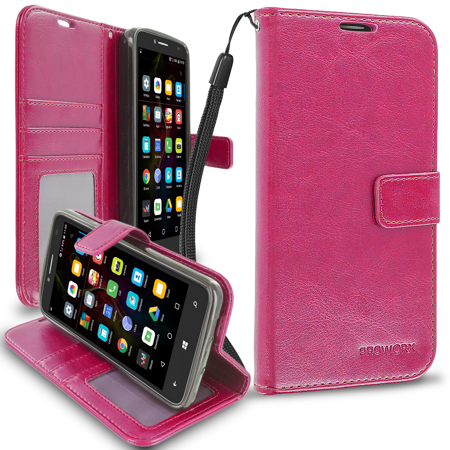 Alcatel OneTouch Fierce XL Hot Pink ProWorx Wallet Case Luxury PU Leather Case Cover With Card Slots & Stand