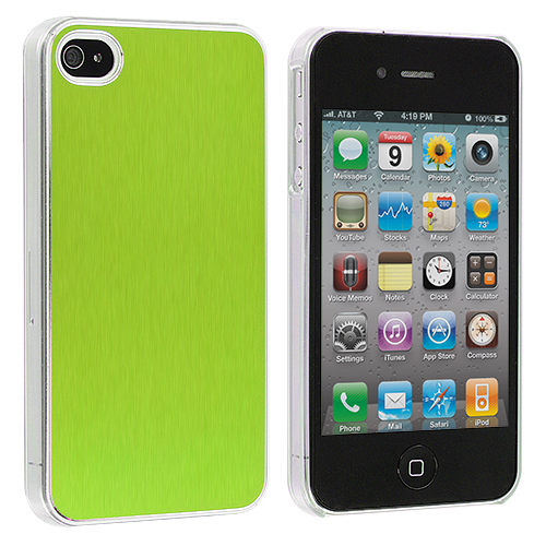 Apple iPhone 4 / 4S 2 in 1 Combo Bundle Pack - Green Purple Aluminium Brushed Aluminum Metal Hard Case Cover : Color Green Aluminium Brushed