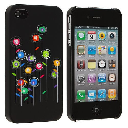 Apple iPhone 4 / 4S Black Flower Hard Rubberized Back Cover Case