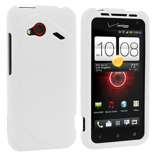 HTC Droid Incredible 4G LTE 6410 White Hard Rubberized Case Cover