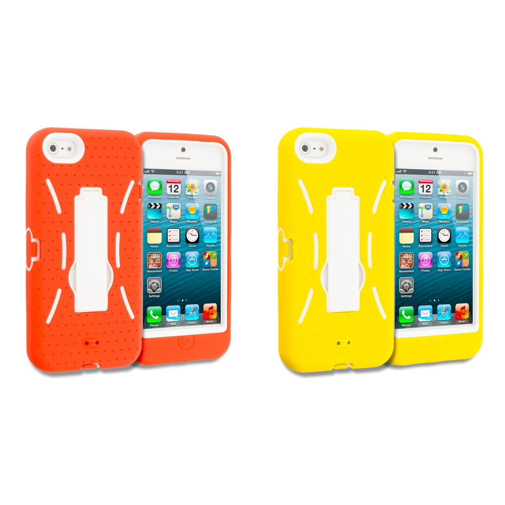 Apple iPhone 5/5S/SE Combo Pack : Orange / White Hybrid Heavy Duty Hard/Soft Case Cover with Stand