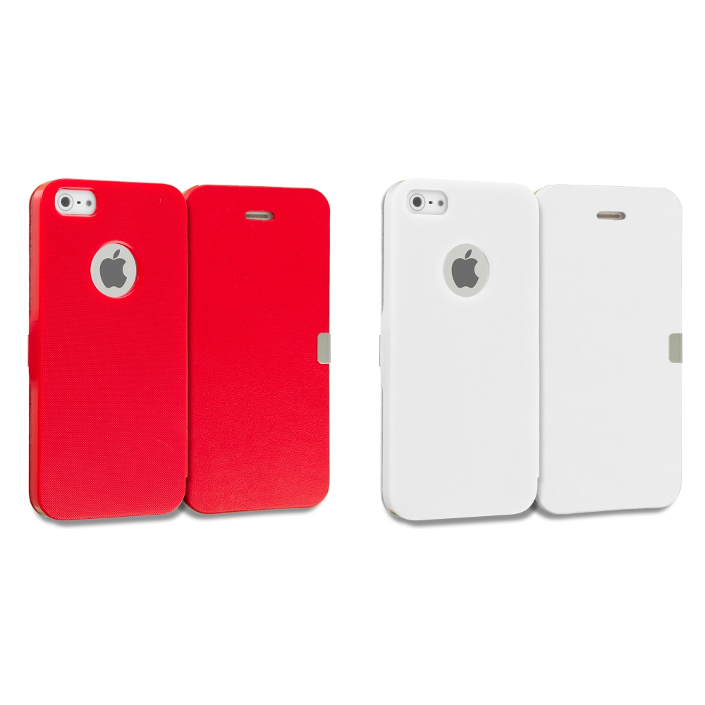 Apple iPhone 5/5S/SE Combo Pack : Red Smooth Magnetic Wallet Case Cover Pouch