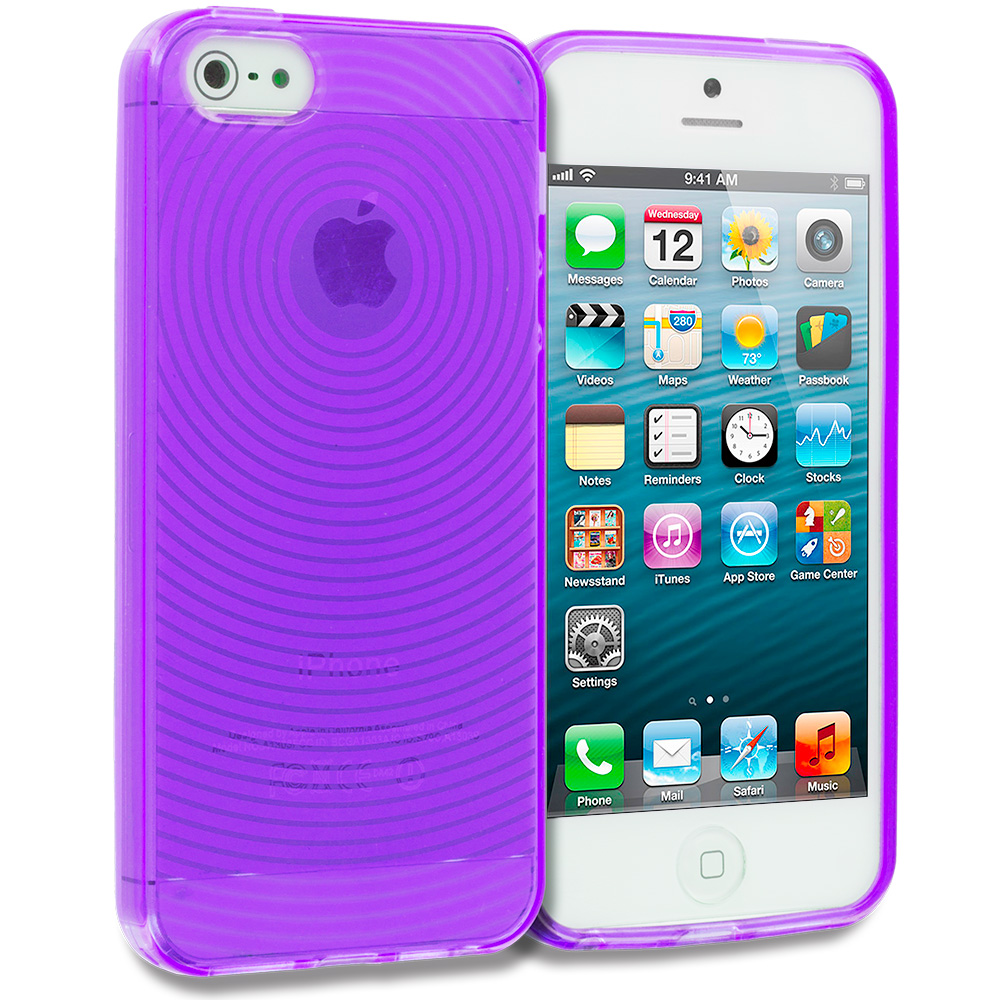 Apple iPhone 5/5S/SE Combo Pack : Hot Pink Fingerprint TPU Rubber Skin Case Cover : Color Purple Fingerprint