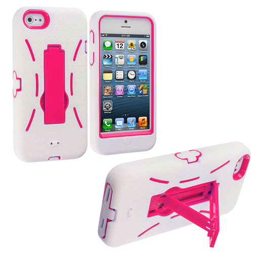 Apple iPhone 5/5S/SE White / Hot Pink Hybrid Heavy Duty Hard/Soft Case Cover with Stand