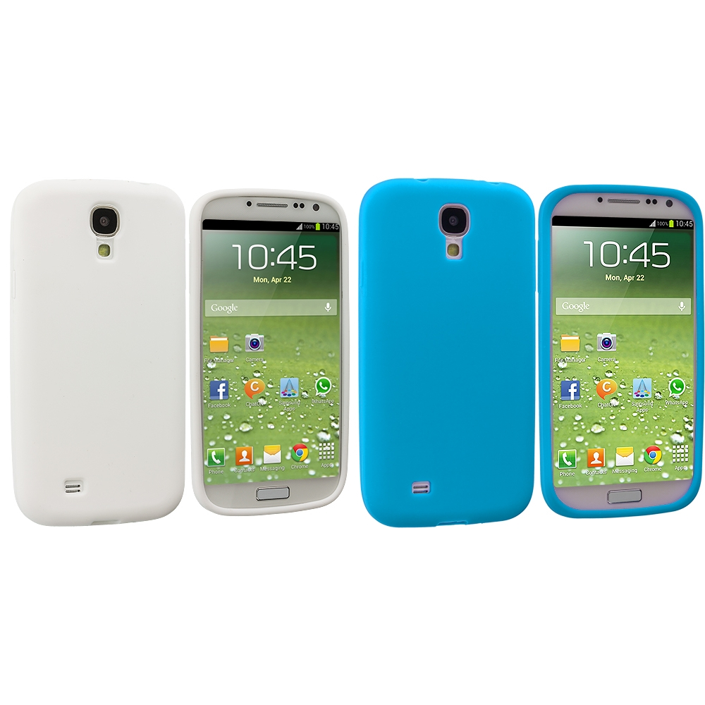Samsung Galaxy S4 2 in 1 Combo Bundle Pack - White Baby Blue Silicone Soft Skin Case Cover