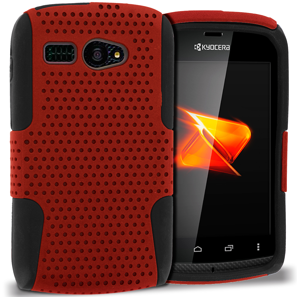 Sanyo Kyocera Hydro C5170 Black / Red Hybrid Mesh Hard/Soft Case Cover