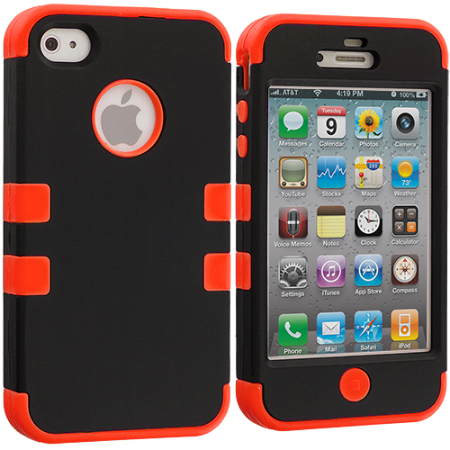Apple iPhone 4 / 4S Black / Orange Hybrid Tuff Hard/Soft 3-Piece Case Cover