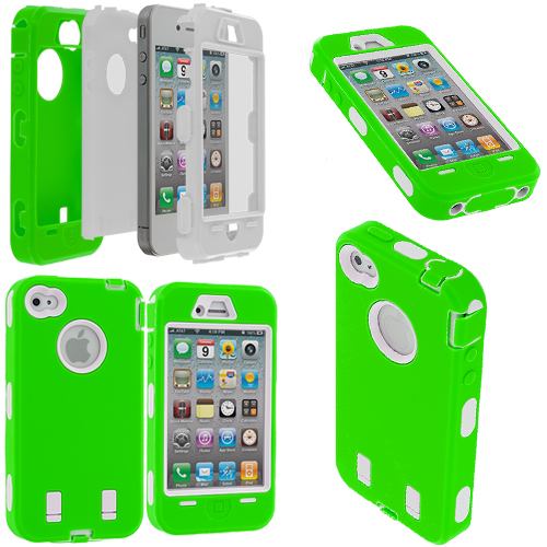Apple iPhone 4 / 4S Neon Green / White + Protector Hybrid Deluxe Hard/Soft Case Cover
