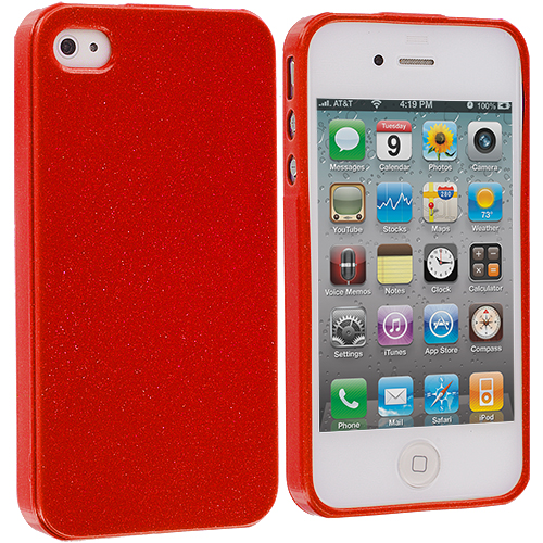 Apple iPhone 4 Red Glitter TPU Rubber Skin Case Cover