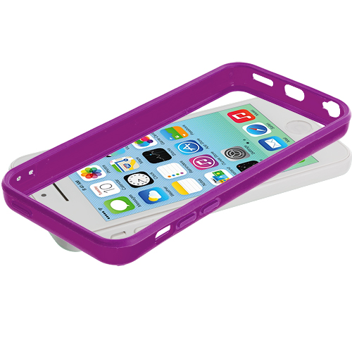 Apple iPhone 5C Purple Solid TPU Bumper with Metal Buttons