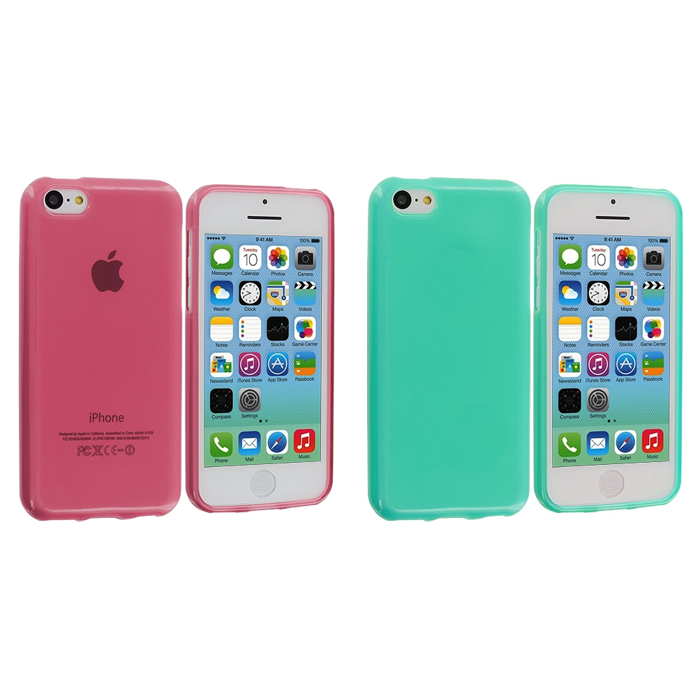 Apple iPhone 5C 2 in 1 Combo Bundle Pack - Light Pink Teal TPU Rubber Skin Case Cover
