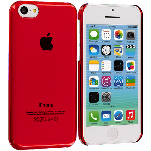 Apple iPhone 5C 2 in 1 Combo Bundle Pack - Clear Red Transparent Crystal Hard Back Cover Case : Color Red Transparent