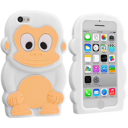 Apple iPhone 5C 2 in 1 Combo Bundle Pack - Orange White Monkey Silicone Design Soft Skin Case Cover : Color White Monkey