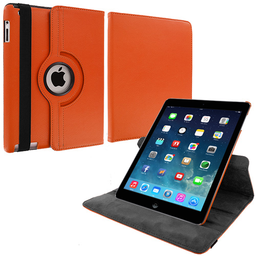 Apple iPad Air Orange 360 Rotating Leather Pouch Case Cover Stand
