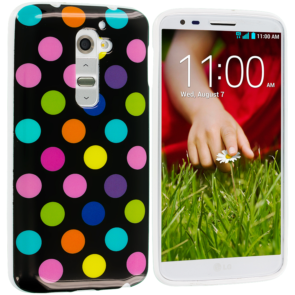 LG G2 Sprint, T-Mobile, At&t Black / Colorful TPU Polka Dot Skin Case Cover