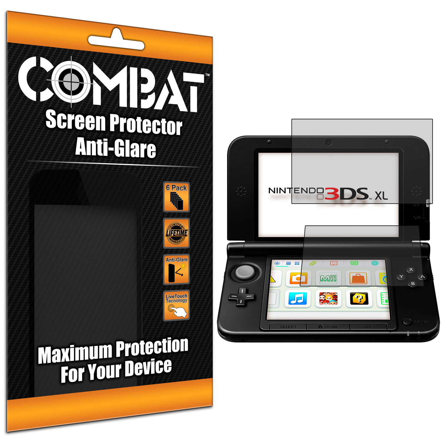 Nintendo 3DS XL Combat 6 Pack Anti-Glare Matte Screen Protector