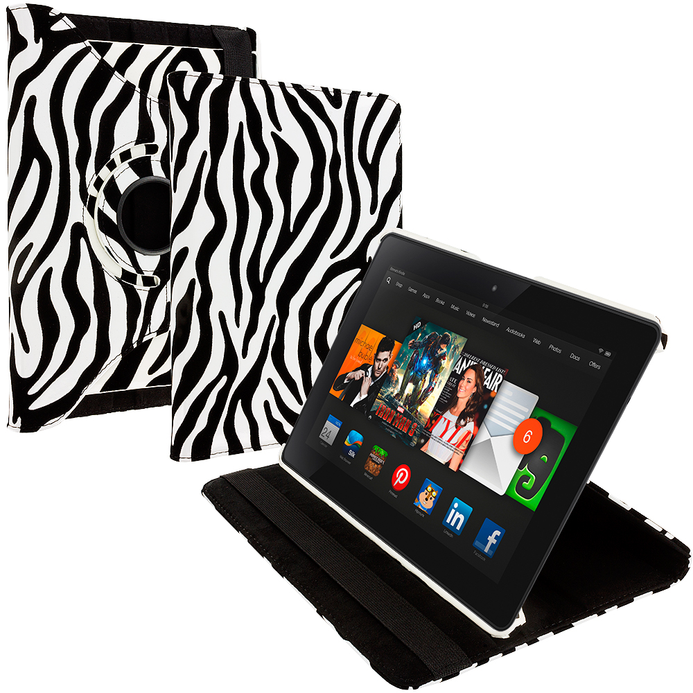 Amazon Kindle Fire HDX 8.9 Black White Zebra 360 Rotating Leather Pouch Case Cover Stand