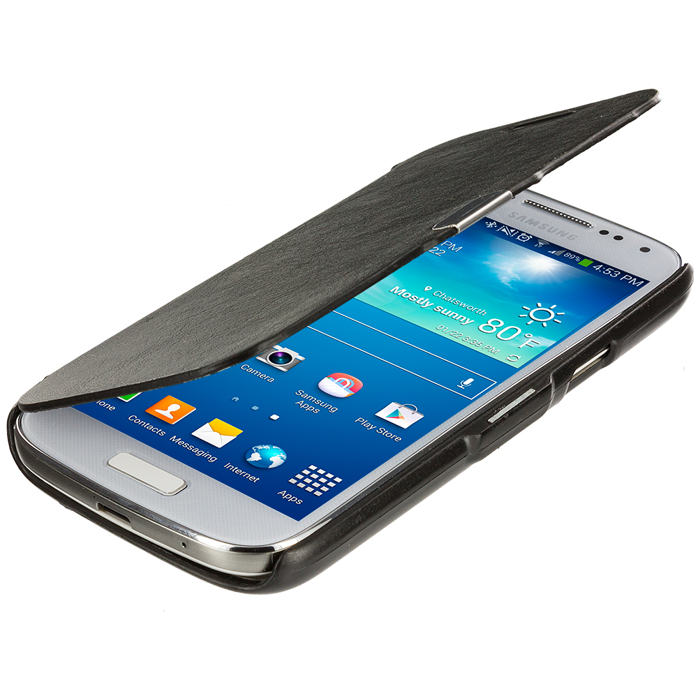 Samsung Galaxy S4 Mini i9190 Black Magnetic Wallet Case Cover Pouch