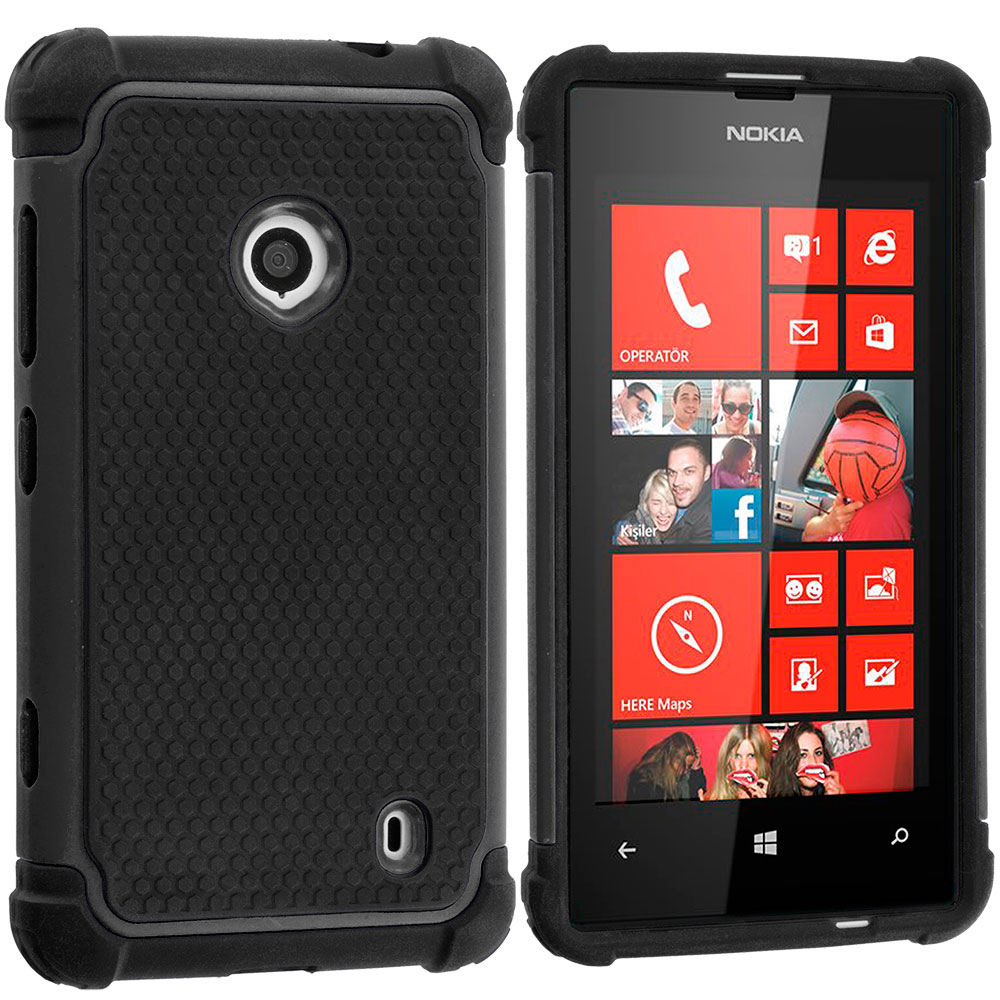Nokia Lumia 521 Black / Black Hybrid Rugged Hard/Soft Case Cover