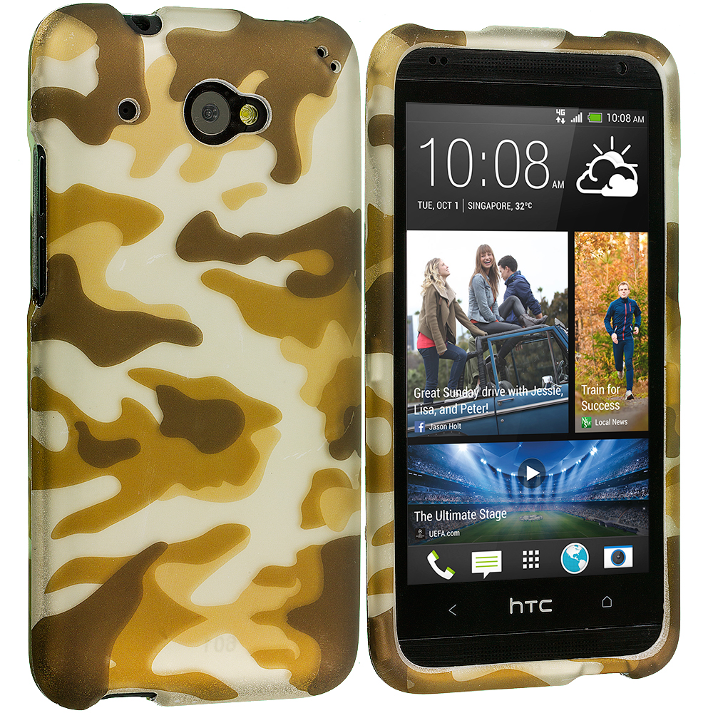 HTC Desire 601 Camo 2D Hard Rubberized Design Case Cover
