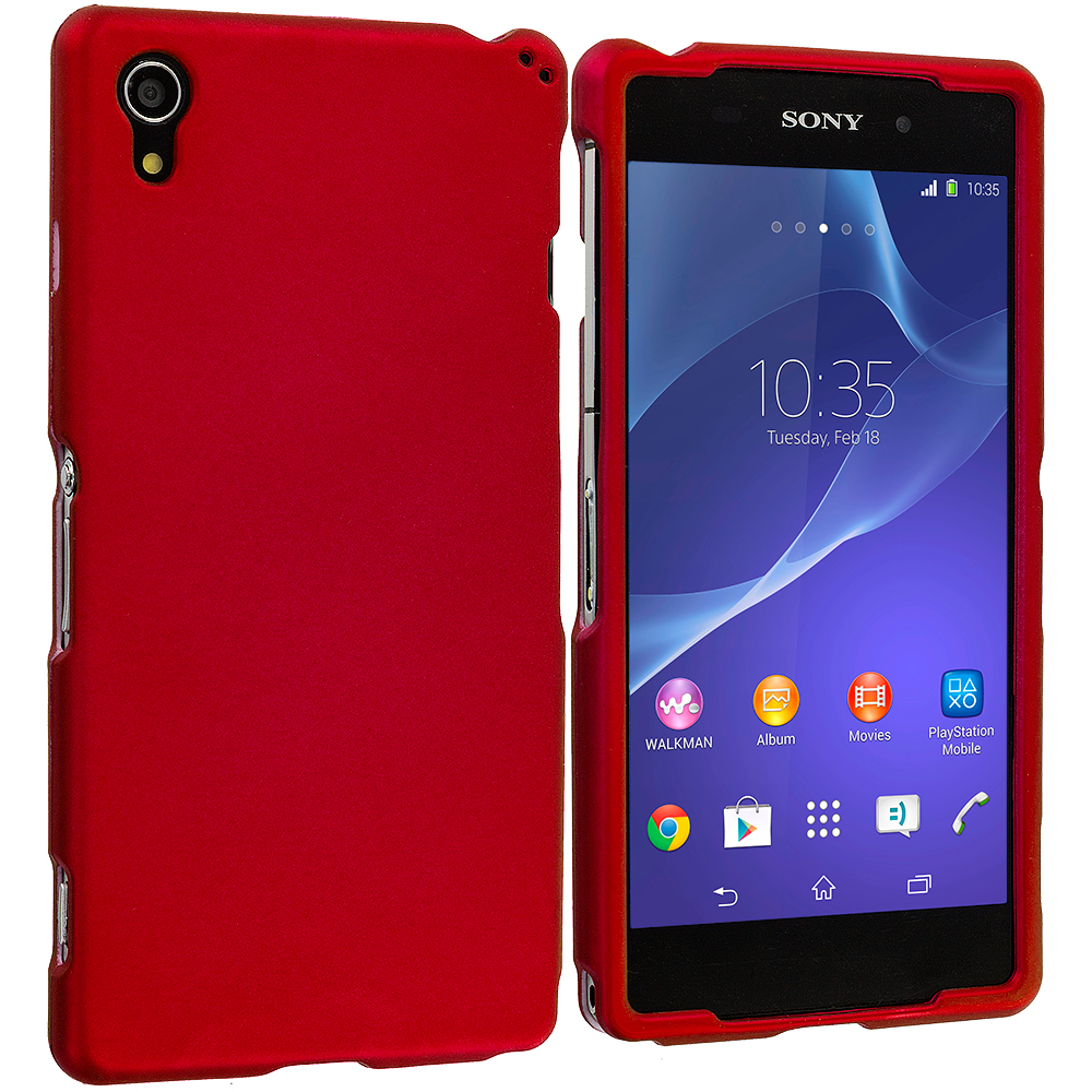 Sony Xperia Z2 Red Hard Rubberized Case Cover
