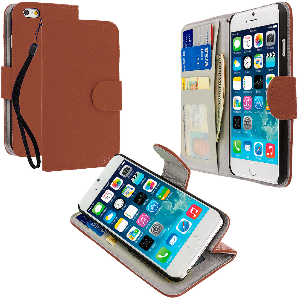 Apple iPhone 6 6S (4.7) 4 in 1 Combo Bundle Pack - Leather Wallet Pouch Case Cover with Slots : Color Brown
