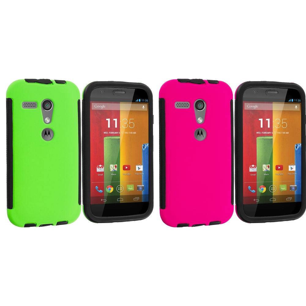 Motorola Moto G 2 in 1 Combo Bundle Pack - Pink / Neon Green Hybrid Hard TPU Shockproof Case Cover With Built in Screen Protector