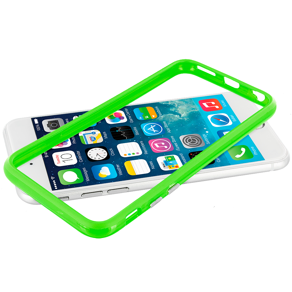 Apple iPhone 6 Plus 6S Plus (5.5) Neon Green TPU Bumper Frame with Metal Buttons