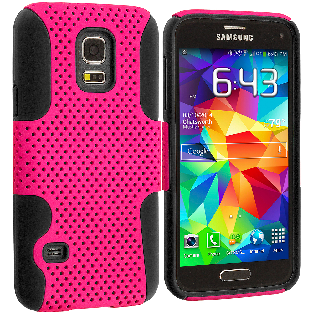 Samsung Galaxy S5 Mini G800 Black / Hot Pink Hybrid Mesh Hard/Soft Case Cover