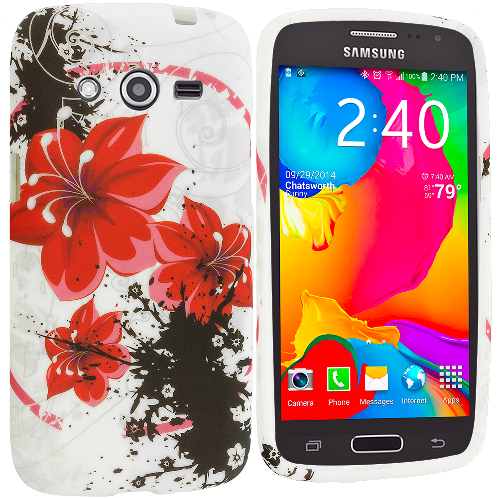 Samsung Galaxy Avant G386 Red Flower TPU Design Soft Rubber Case Cover